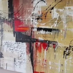 Demonstration of easy abstract painting using different tools and techniques in acrylics