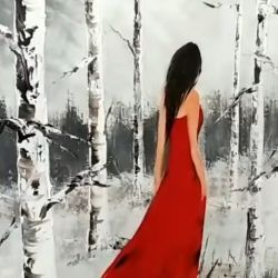 Peinture au couteau : THE LADY IN THE WOODS